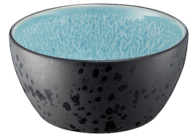 Bowl Matte Black/Shiny Light Blue 12cm