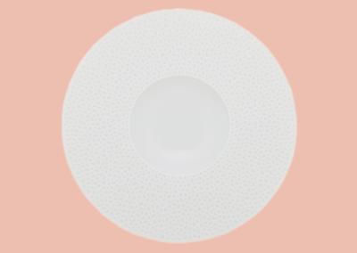 Perles de Rosée Shallow Bowl Wide Rim 28cm